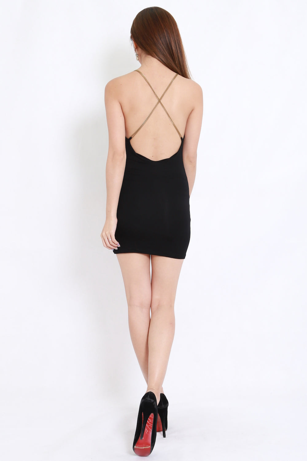 Chain Cross Back Dress (Black)