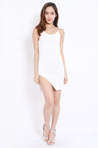 Chain Side Slit Dress (White)
