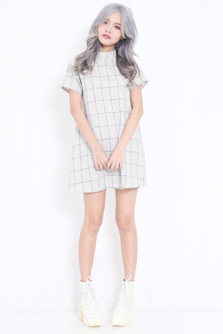 Checkered Babydoll Swing Dress (White)