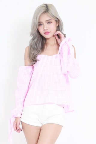 Checkered Off Shoulder Top (Pink)
