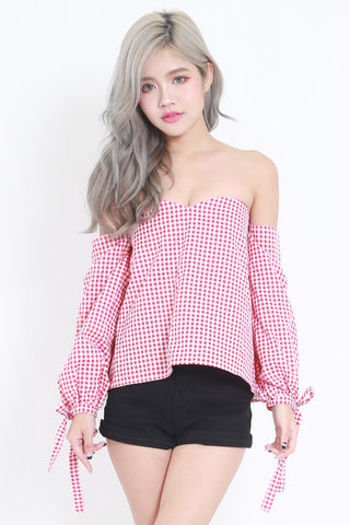 Checkered Off Shoulder Top (Red)