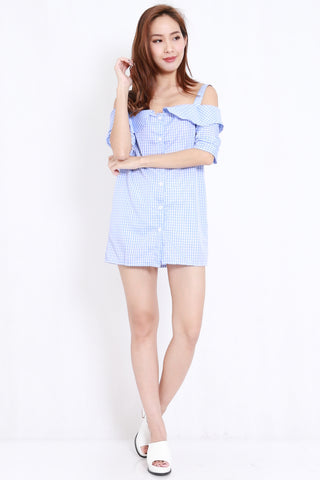 Checkered Off Shoulder Tunic (Blue)