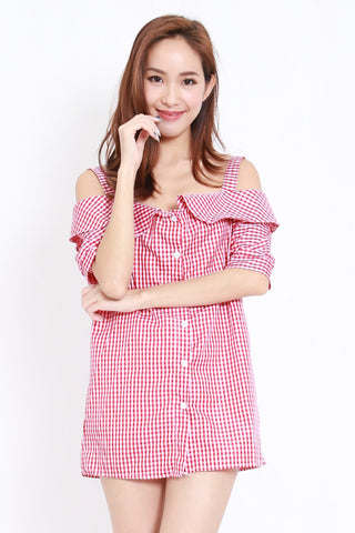 Checkered Off Shoulder Tunic (Red)