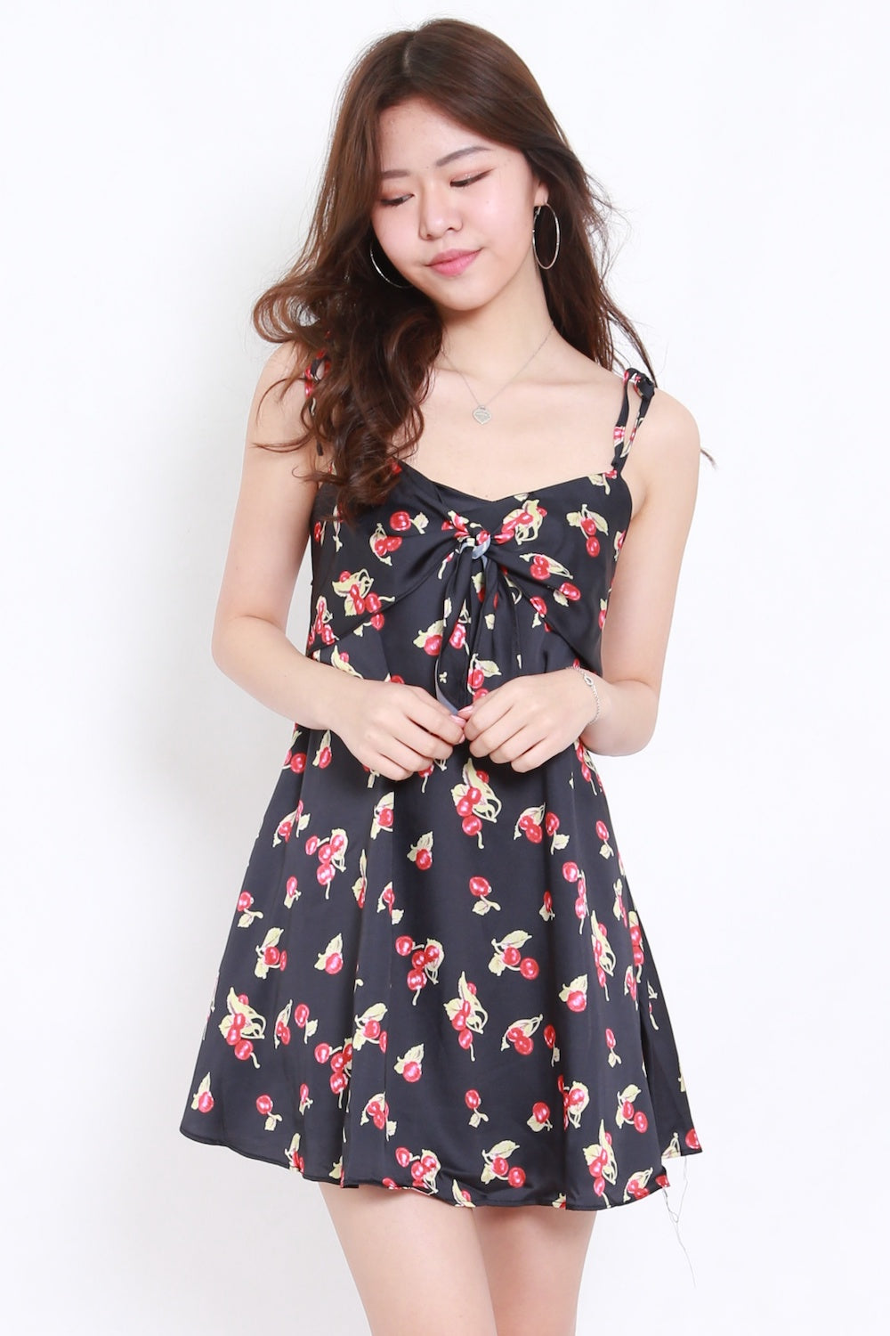 Cherry Ribbon Dress (Black)