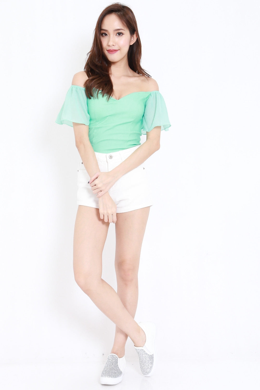 Chiffon Sleeve Off Shoulder Top (Mint)