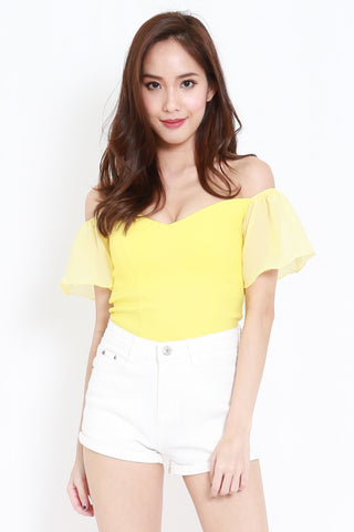 Chiffon Sleeve Off Shoulder Top (Yellow)