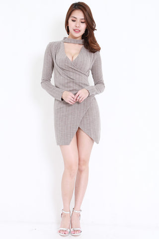 Choker Ribbed Wrap Dress (Ash)