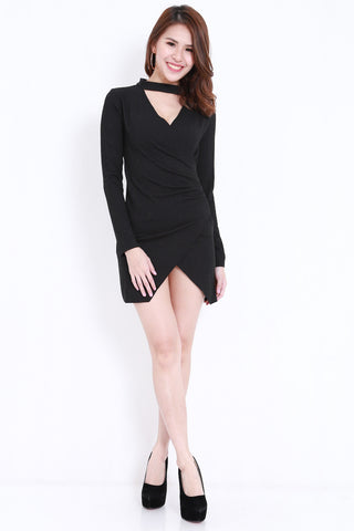 Choker Ribbed Wrap Dress (Black)