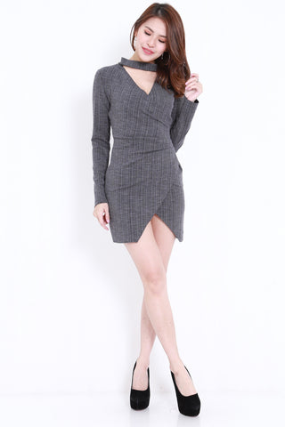 Choker Ribbed Wrap Dress (Dark Grey)