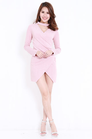 Choker Ribbed Wrap Dress (Pink)