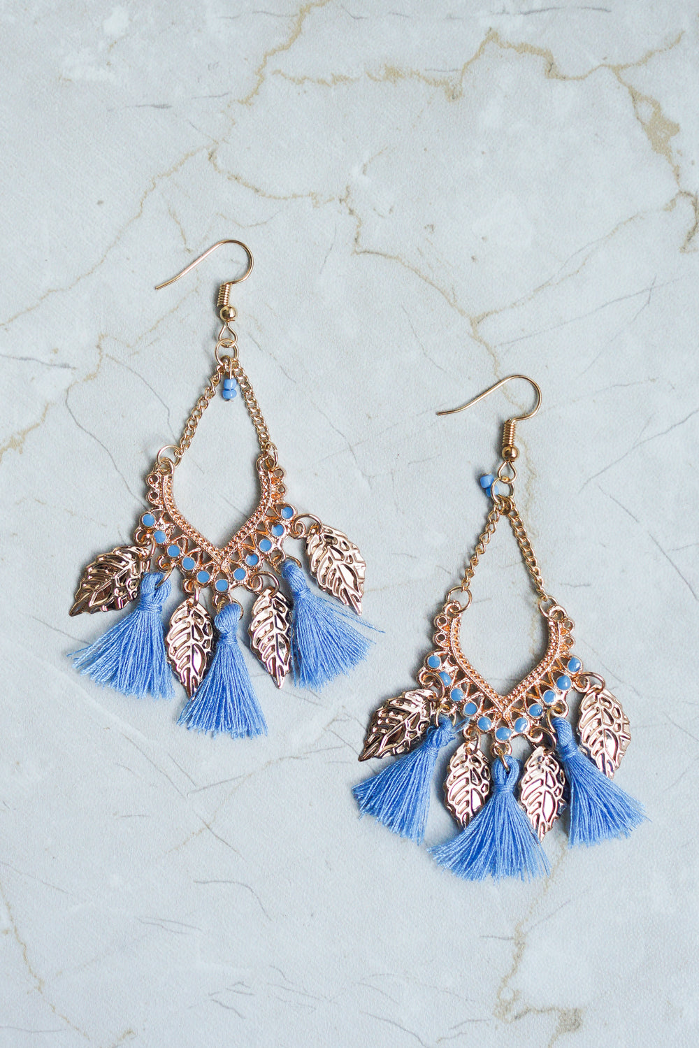 Clara Tassel Leaves Earring (Blue)