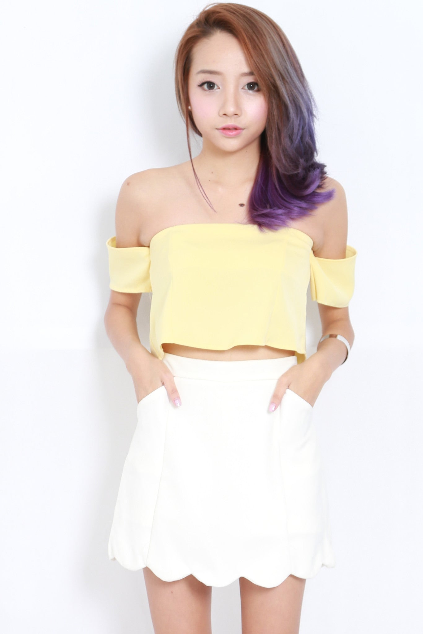 Cold Shoulder Crop Top (Yellow) -  - 1