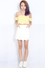 Cold Shoulder Crop Top (Yellow) -  - 2