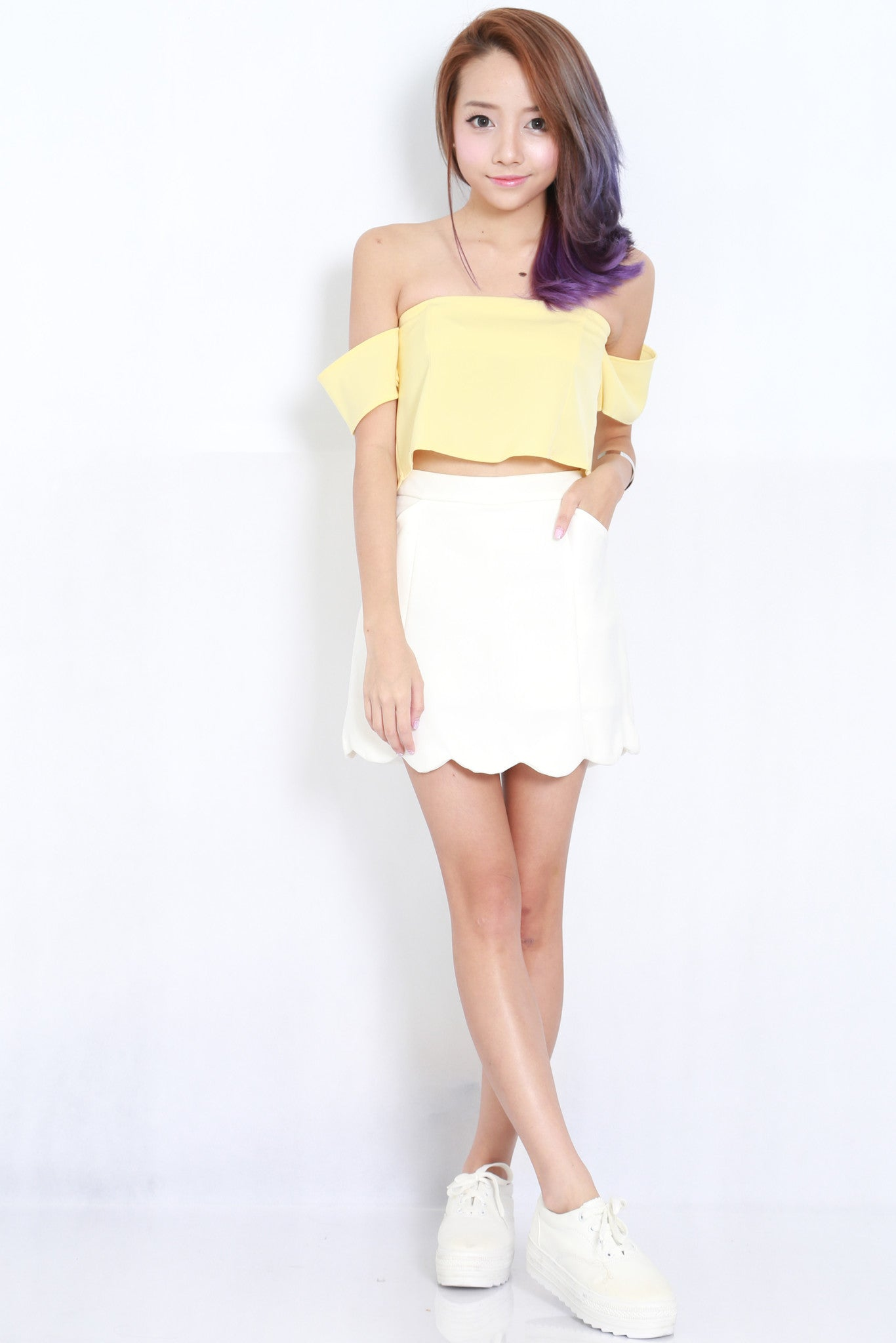 Cold Shoulder Crop Top (Yellow) -  - 3