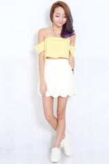 Cold Shoulder Crop Top (Yellow) -  - 4
