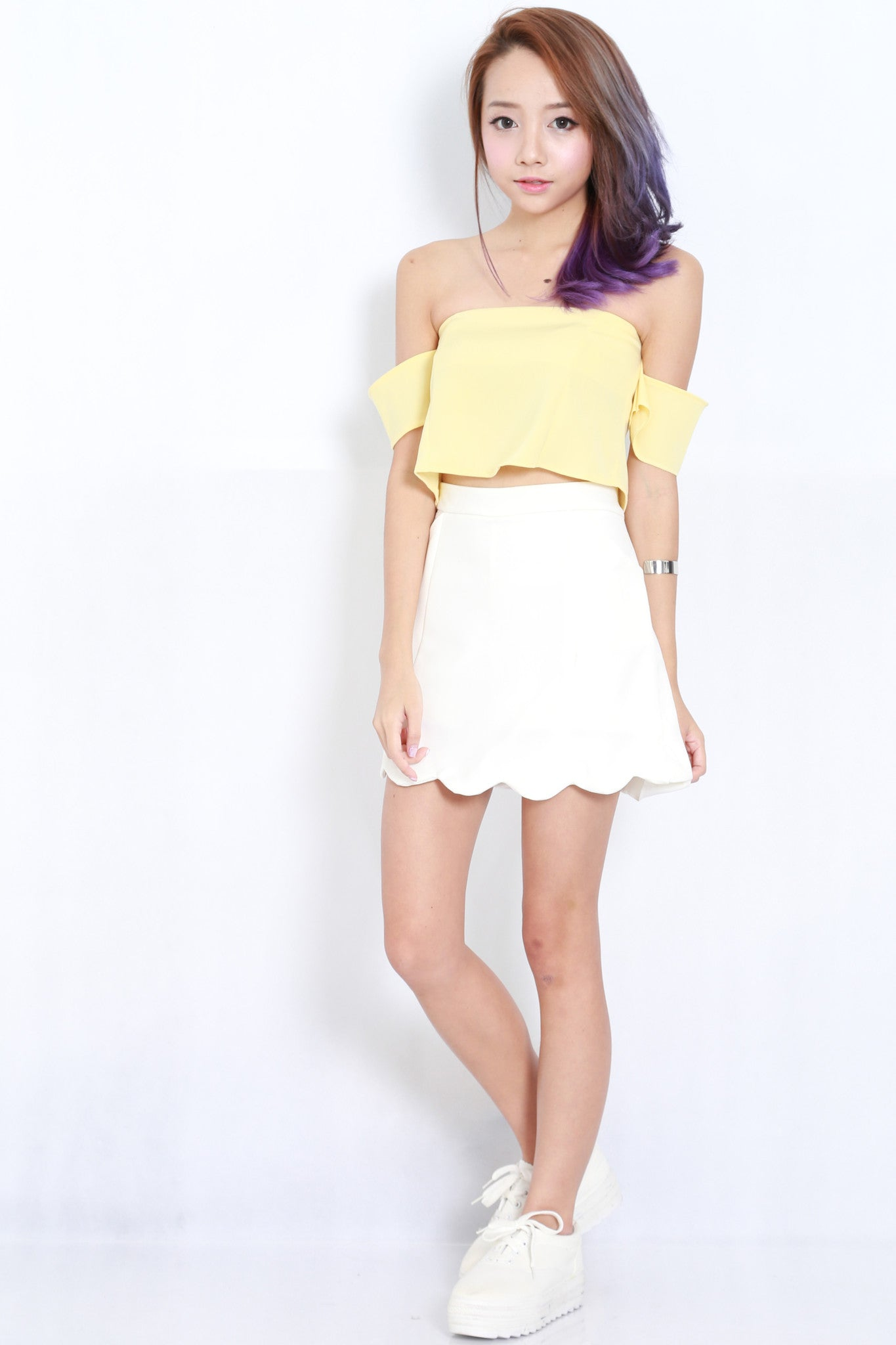 Cold Shoulder Crop Top (Yellow) -  - 5