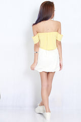 Cold Shoulder Crop Top (Yellow) -  - 6