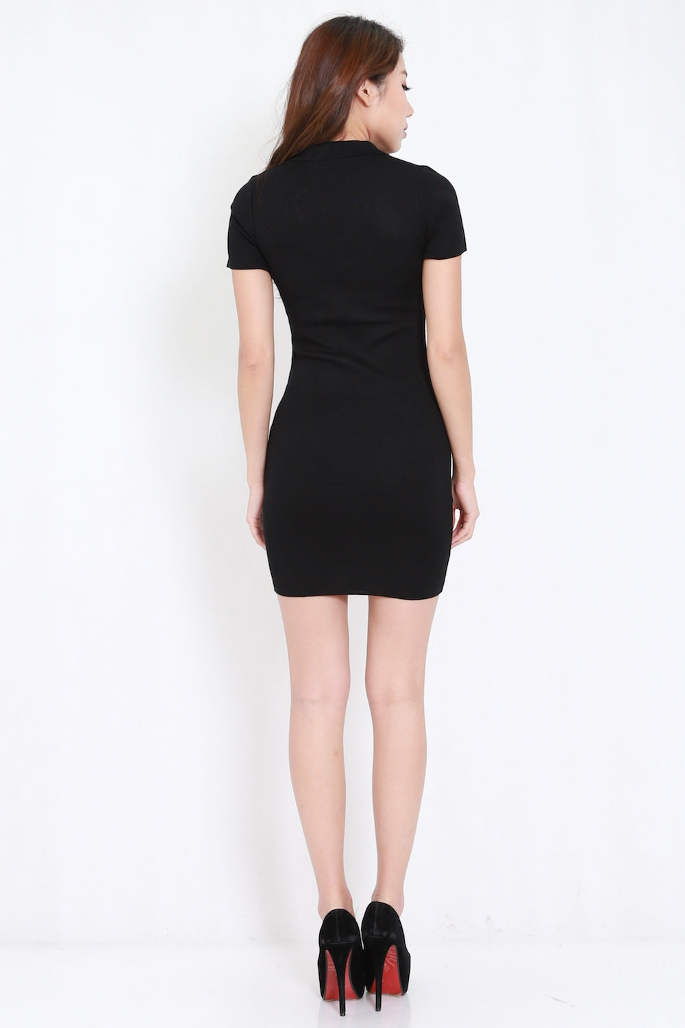 Collar Knit Dress (Black)