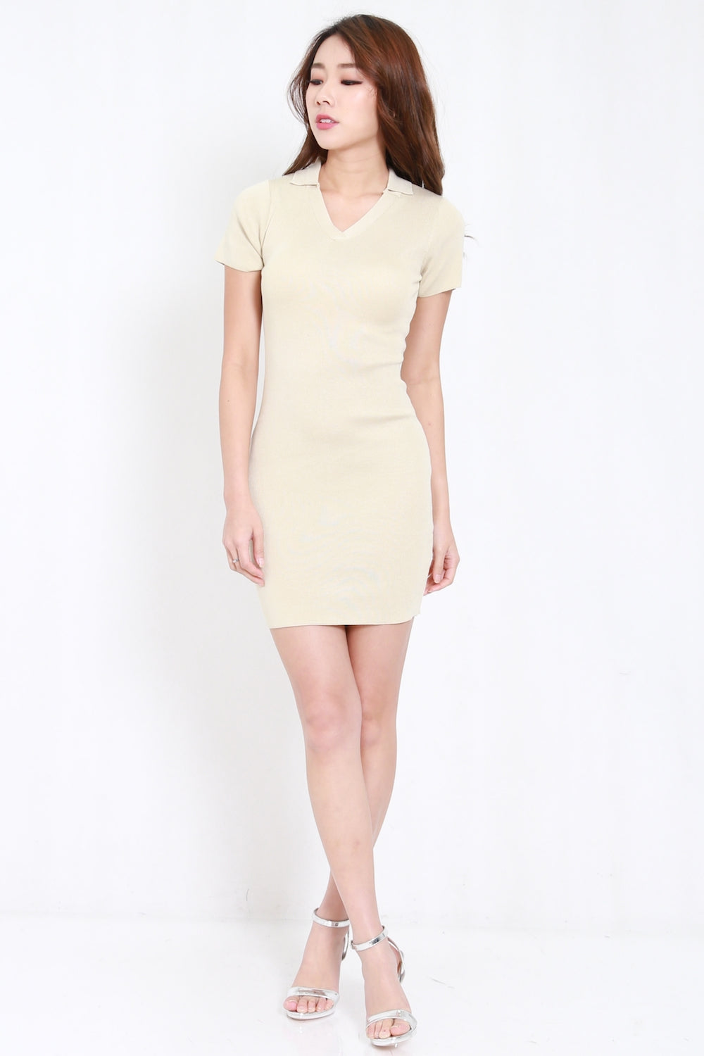 Collar Knit Dress (Nude)