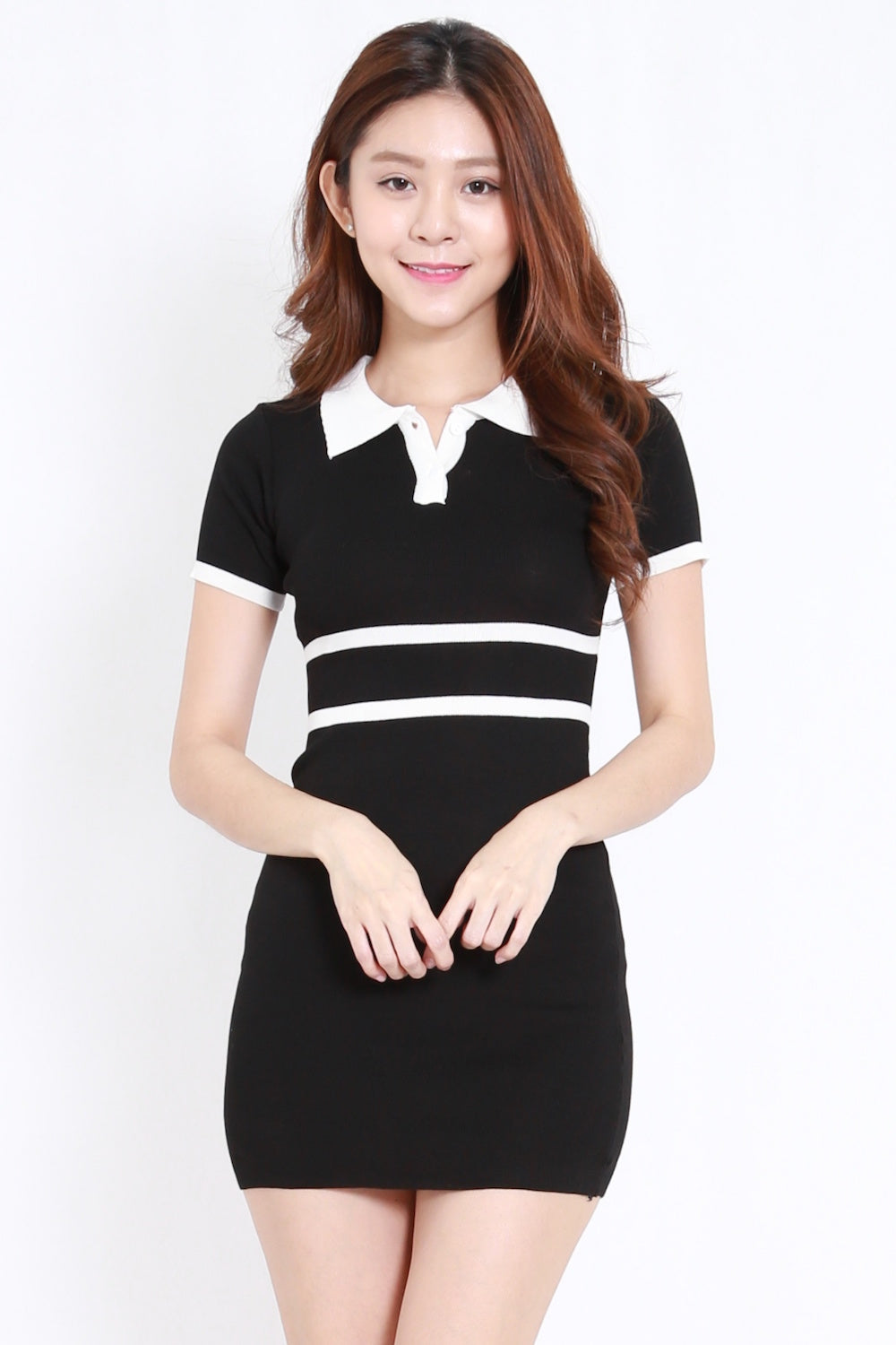 Collar Knit Tee Dress (Black)