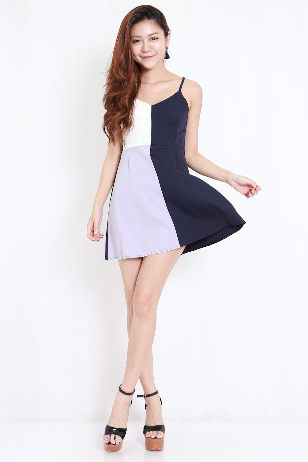 Color Block Navy Dress