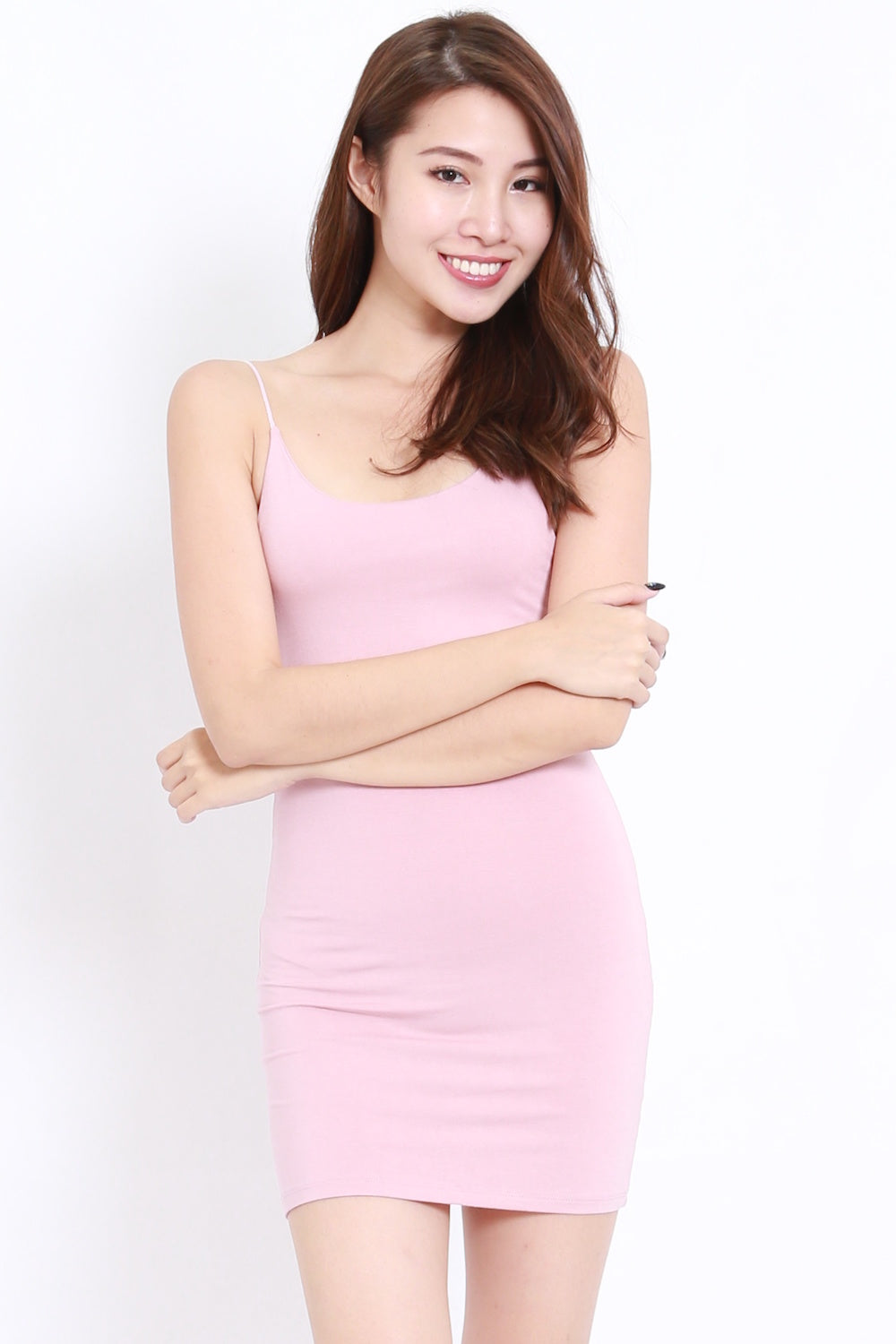 Cotton Basic Spag Dress (Blush)