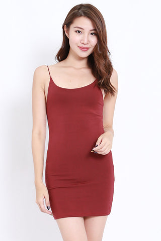 Cotton Basic Spag Dress (Maroon)