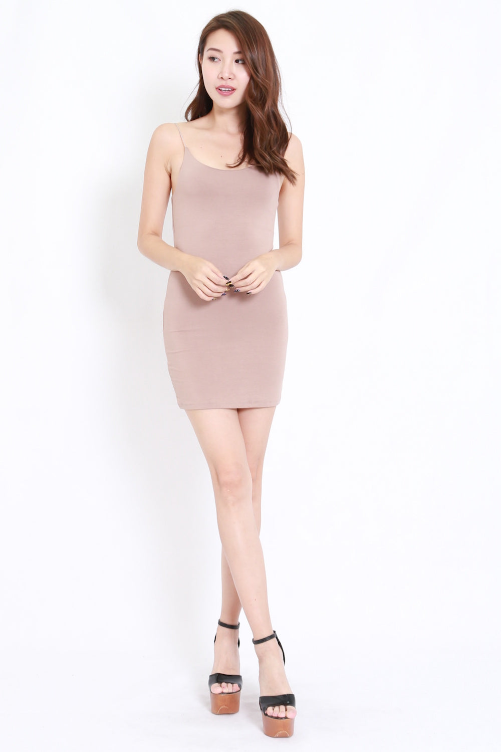 Cotton Basic Spag Dress (Taupe)