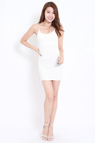 Cotton Basic Spag Dress (White)