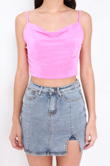 Cowl Neck Crop Spag (Barbie Pink)