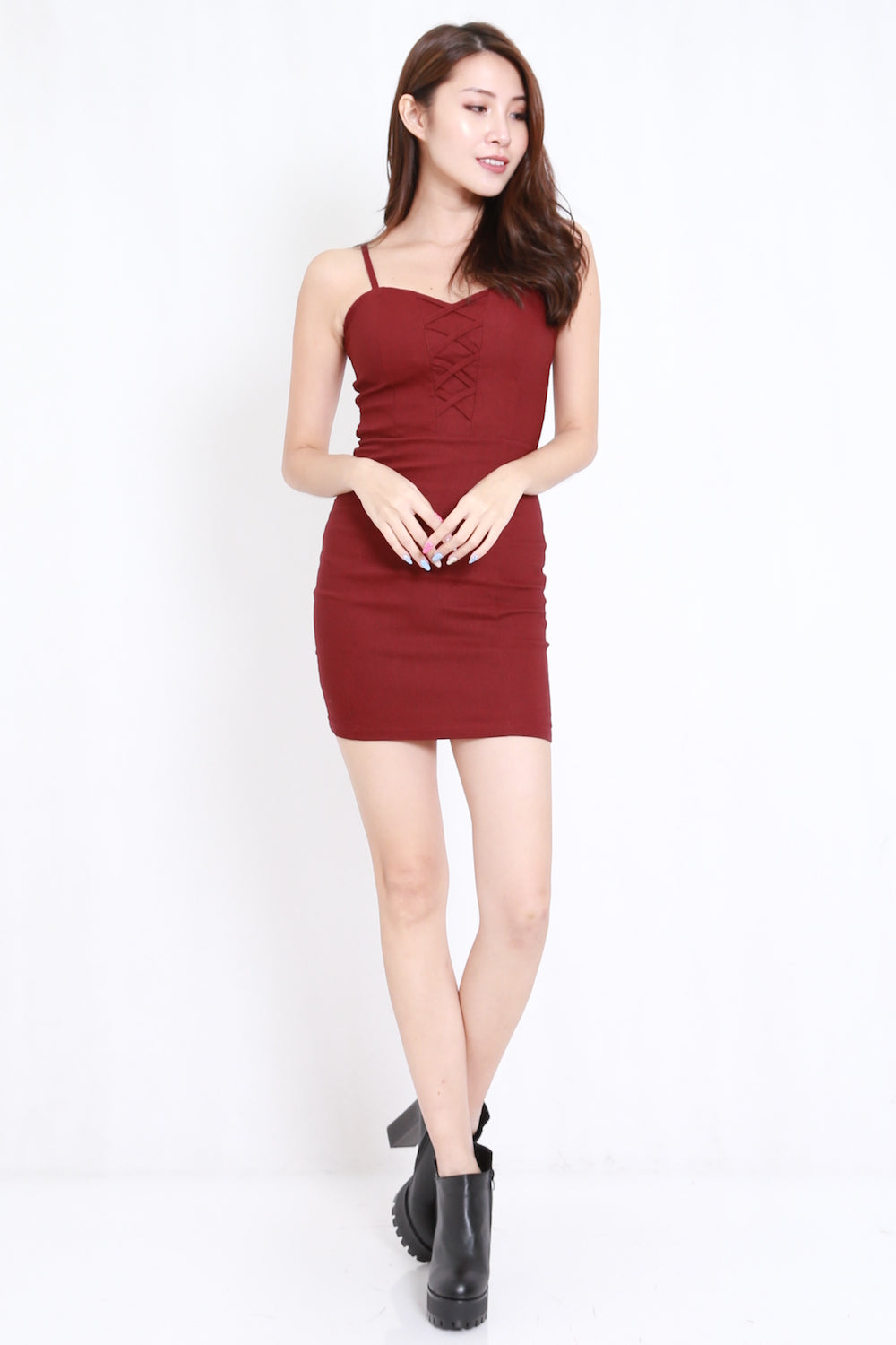 Criss Cross Spag Dress (Maroon)