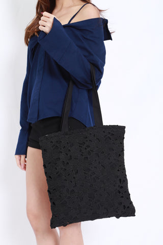 Crochet Tote Bag (Black)