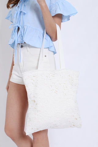Crochet Tote Bag (White)