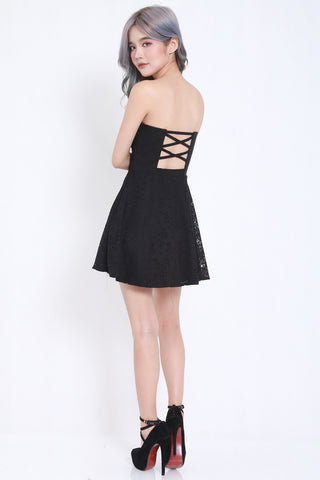 Crochet Cross Back Skater Dress -  - 6