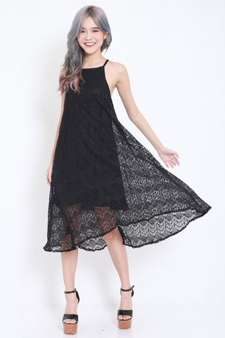 Crochet Flowy Maxi Dress (Black) -  - 1