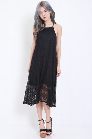 Crochet Flowy Maxi Dress (Black) -  - 2