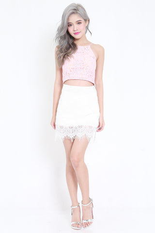 Crochet High Neck Bralet (Pink) -  - 2