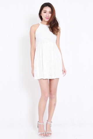 8d25bb00e Crochet High Neck Skater Dress (White)