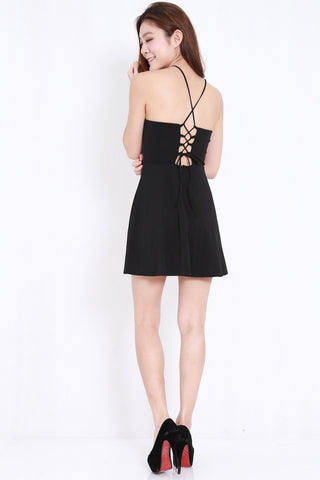 Crochet Lace Back Dress (Black)