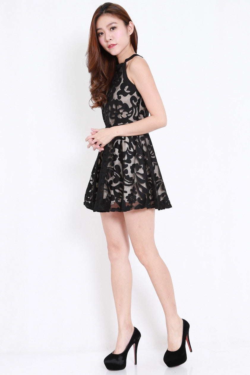 Crochet Overlay High Neck Dress (Black)
