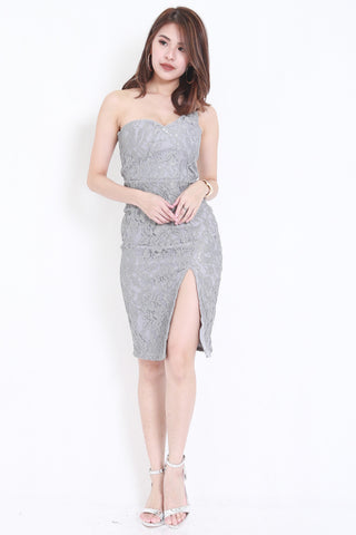 *PREMIUM* Crochet Toga Slit Dress (Grey) -  - 1