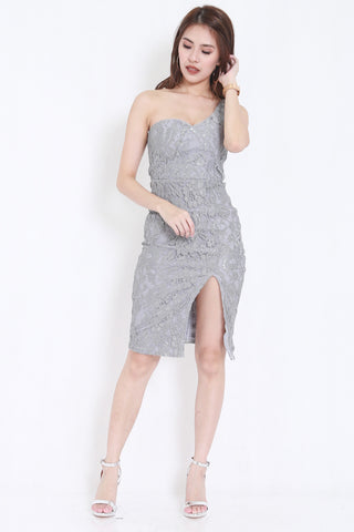 *PREMIUM* Crochet Toga Slit Dress (Grey) -  - 2