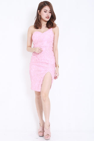 *PREMIUM* Crochet Toga Slit Dress (Pink) -  - 1