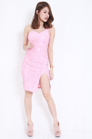*PREMIUM* Crochet Toga Slit Dress (Pink) -  - 2