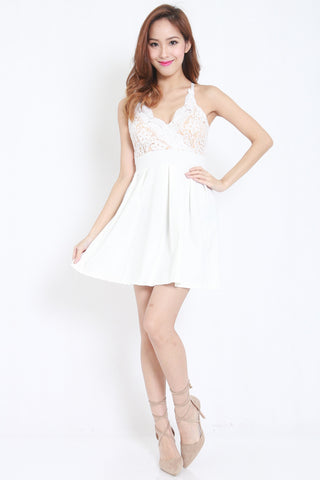 Crochet White Skater Dress -  - 1