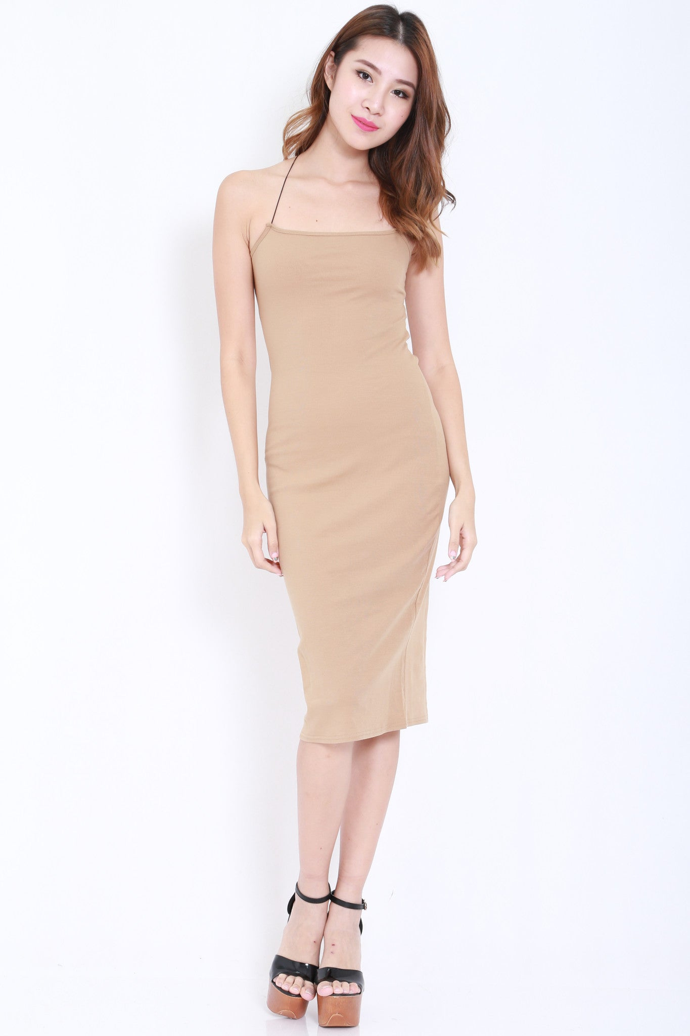 Cross Back Cutout Midi Dress (Nude) -  - 1