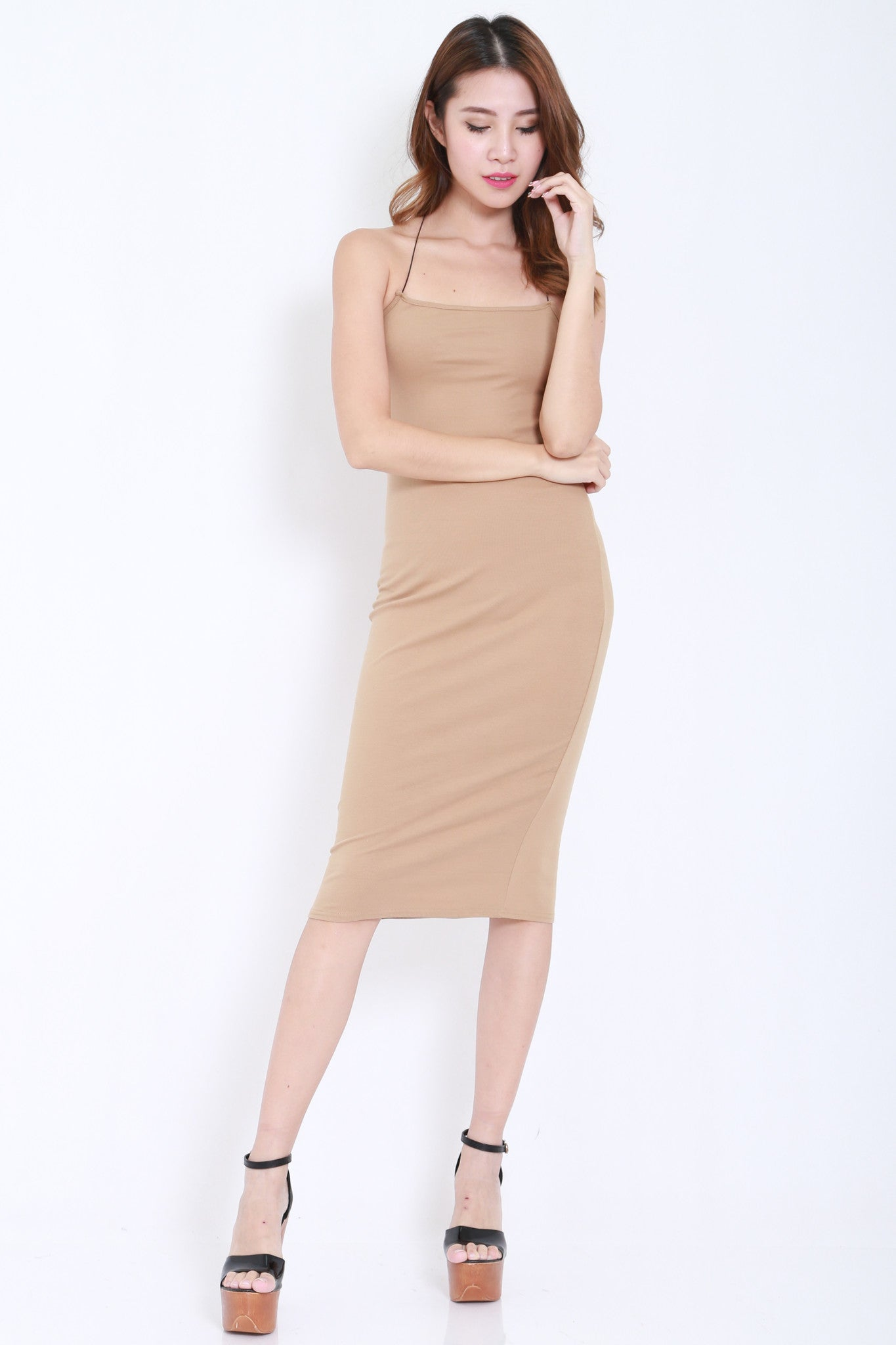 Cross Back Cutout Midi Dress (Nude) -  - 3