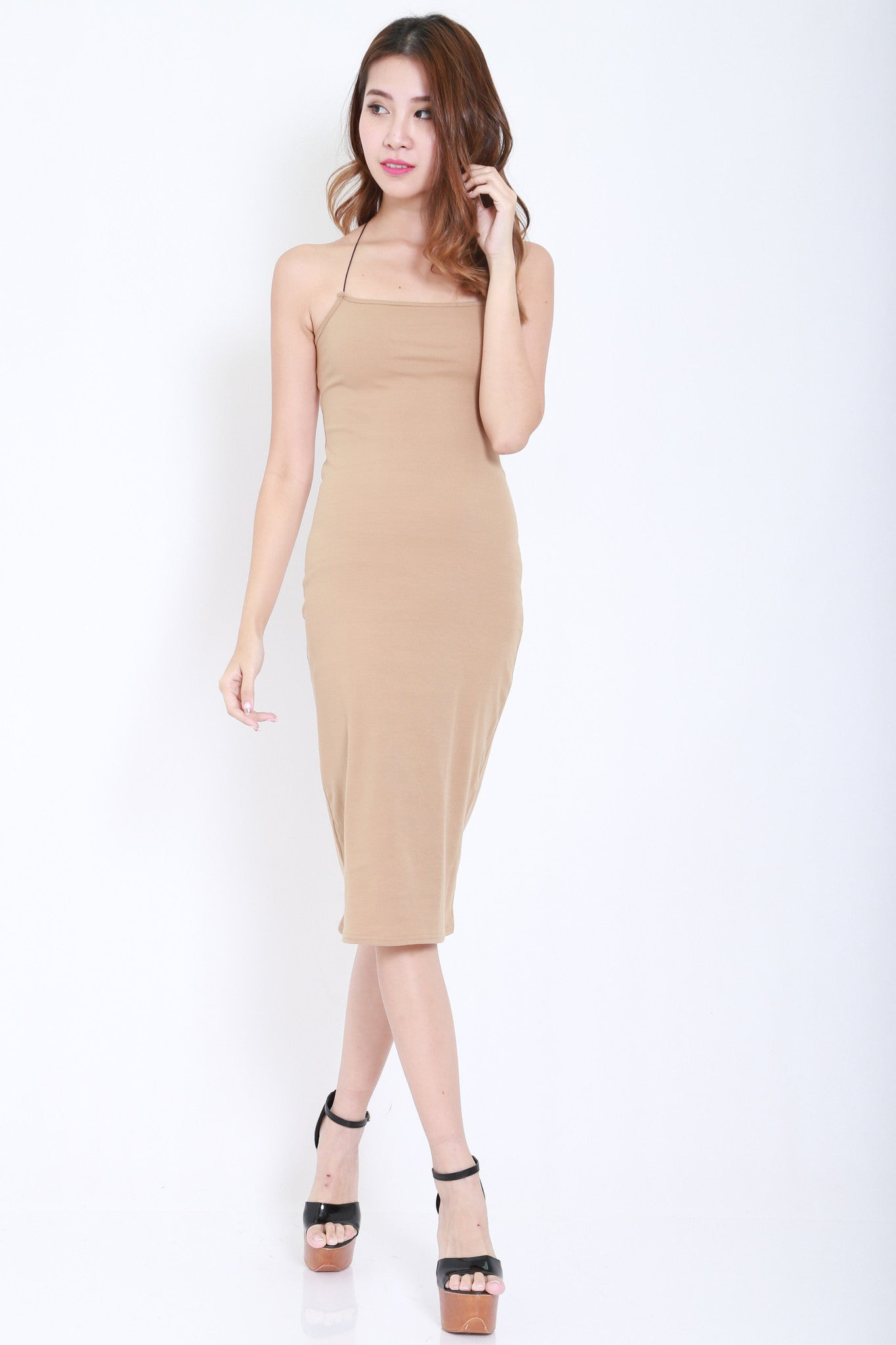 Cross Back Cutout Midi Dress (Nude) -  - 2
