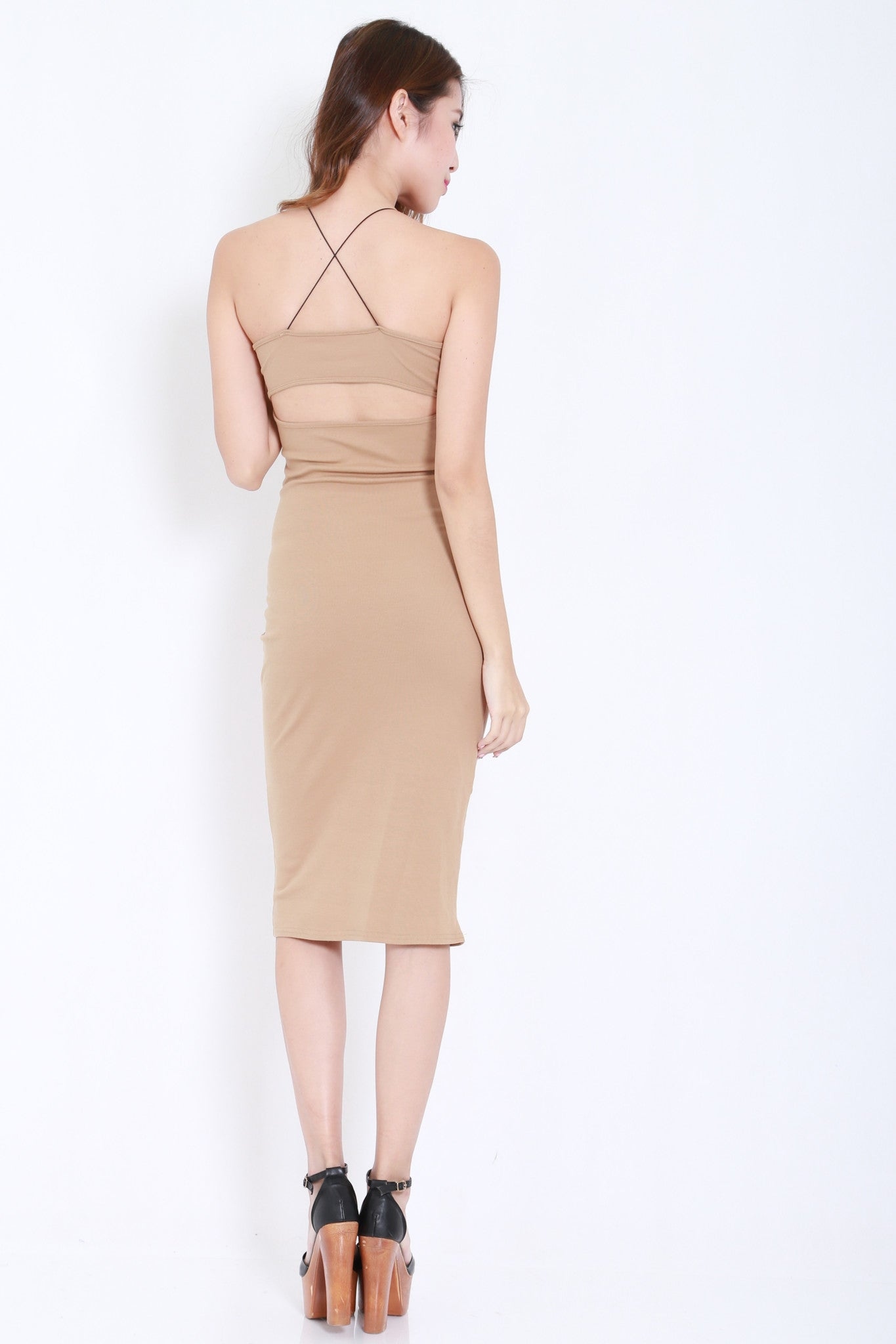 Cross Back Cutout Midi Dress (Nude) -  - 4