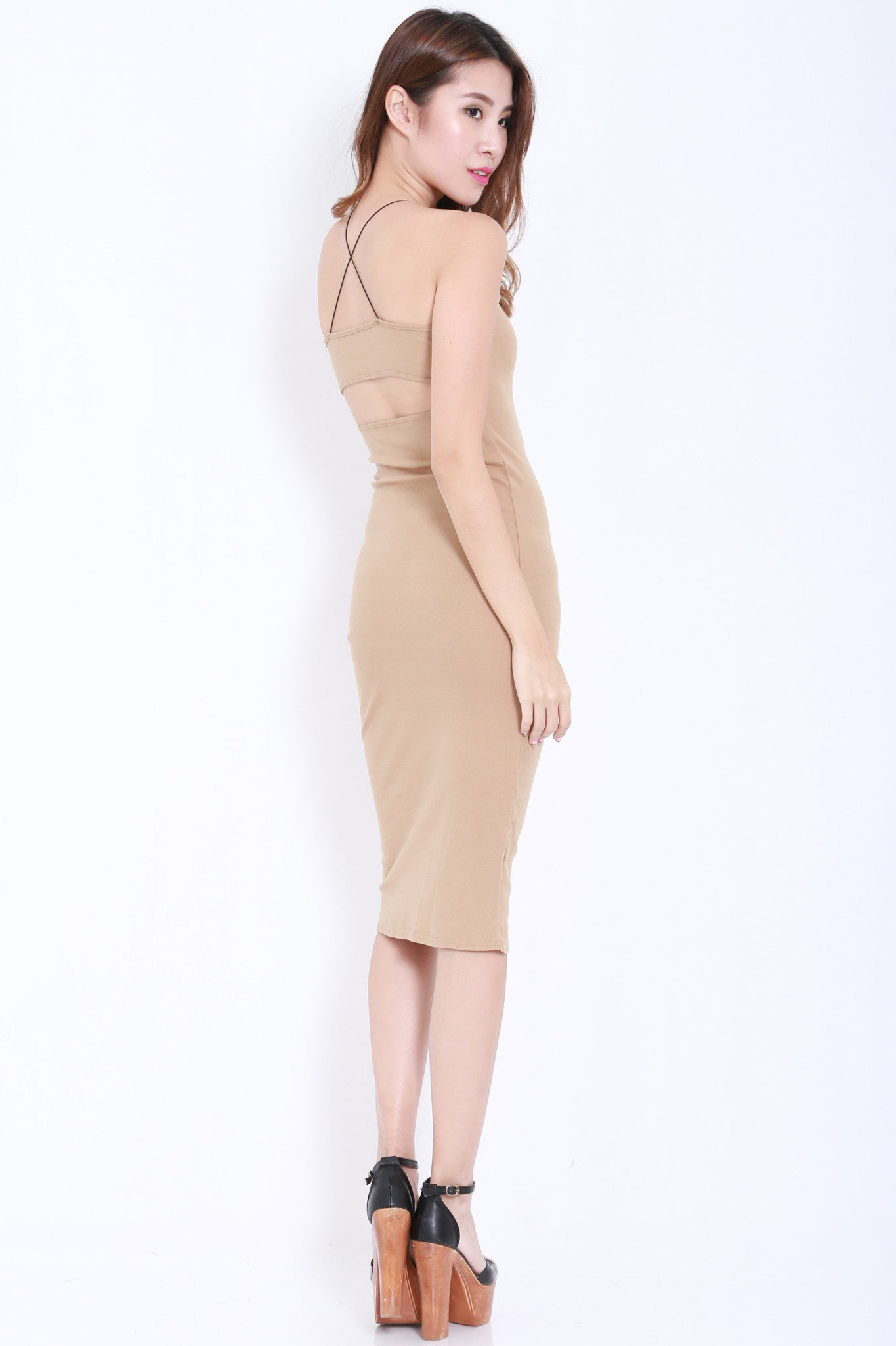 Cross Back Cutout Midi Dress (Nude) -  - 5